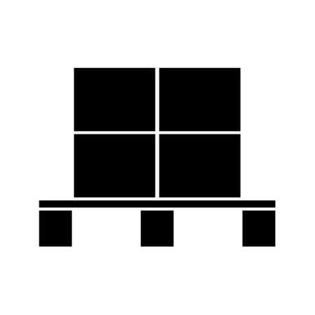 Freight pallet with boxes, black minimalist flat vector illustration icon, logistic symbol, europa-pallet, symbol for freight, delivery, shipping and packaging