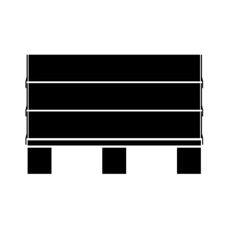 Freight pallet with cargo, black minimalist flat vector illustration icon, logistic symbol, europa-pallet with wood collars, symbol for freight, delivery, shipping and packaging