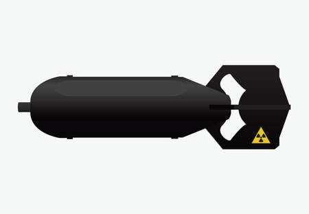 Retro nuclear air bomb icon, weapon, military and missile sign, vector illustration Illustration