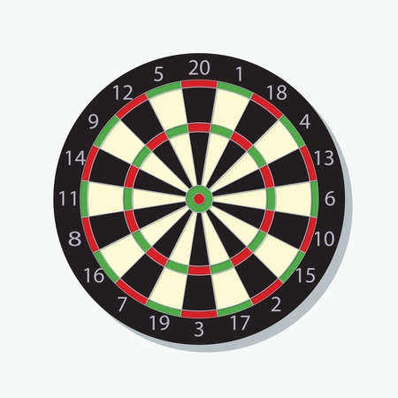 Detailed dart board, vector illustration symbol with red bulls-eye, symbol for perfection, success and right on target