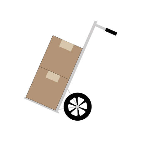 Wheelbarrow vector icon, minimalist vector illustration symbol