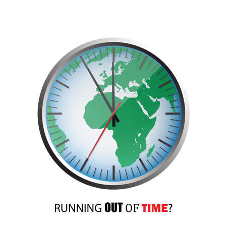 The world as a clock, symbol for running out of time, vector illustration design