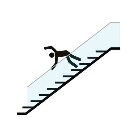Man falling down stairs, vector illustration design