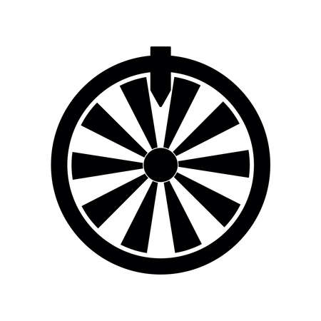Fortune wheel, black flat vector illustration, symbol for luck, fortune and online gaming