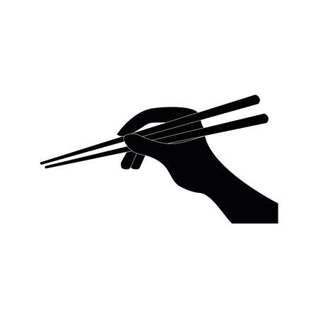 Chopsticks kitchen and eating utensils, flat minimalist vector illustration Vecteurs