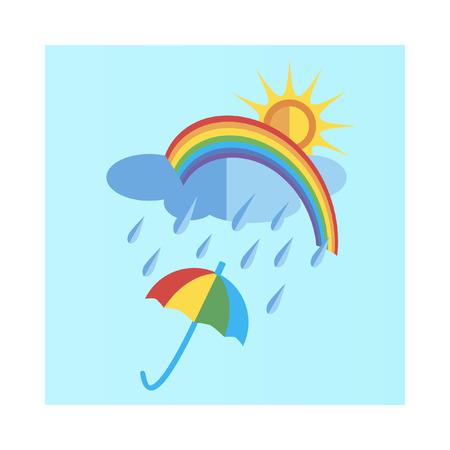 rain cloud: sun and rain cloud with rainbow rain