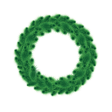 Christmas wreath of green trees on a white background illustration