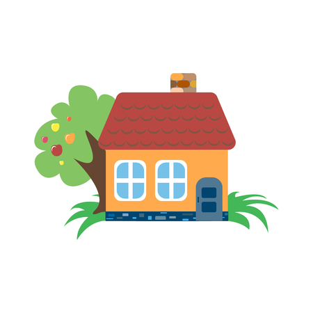 habitation: house on a white background with a tree