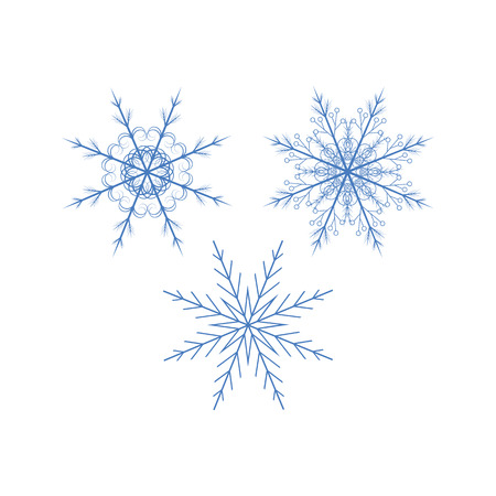 appearance: collection of different blue snowflakes on white background Illustration