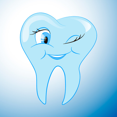 Cartoon pure snow white tooth on a white background, illustration
