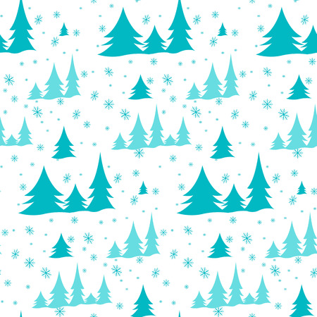 snow drifts: New pattern of green Christmas trees on a white background, illustration