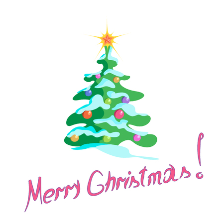 Christmas tree with ornaments on white  illustration, lettering