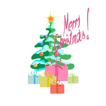 barbed: Christmas tree with gifts on a white Christmas, Illustration