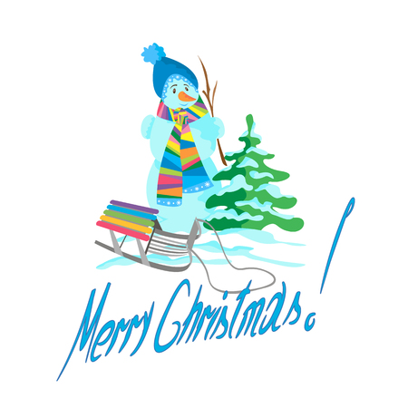 Christmas tree with snowman and sled on a white Christmas,