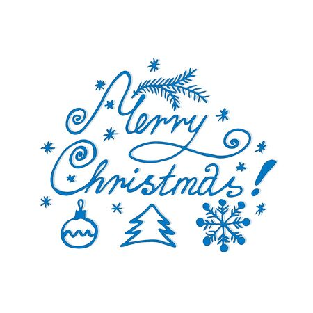 typography signature: Merry Christmas lettering, writing greeting line, hand calligraphy. vector illustration, letter
