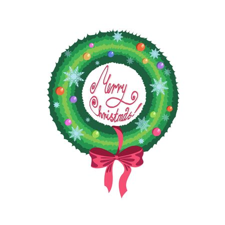 braided: Christmas wreath of green tree with red ribbon and balls on white background with snowflakes vector illustration