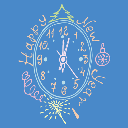 date night: Vintage tsyferblat for the new year with ornaments vector illustration Christmas clock Christmas tsyfry atkrytka Illustration