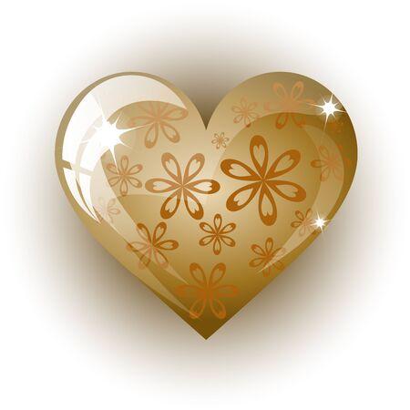 3d valentine golden heart on a white background, vector illustration