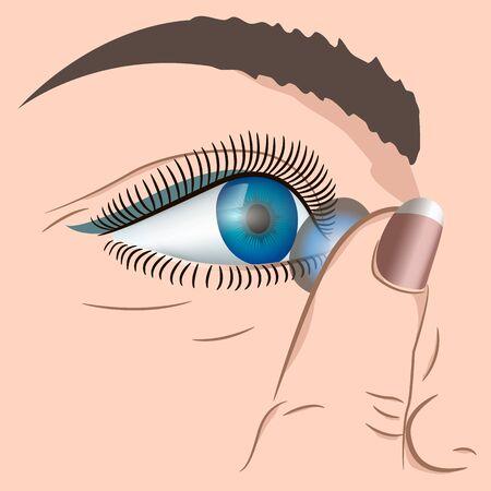 human eye: human eye with contact linzay, Vekton illustration