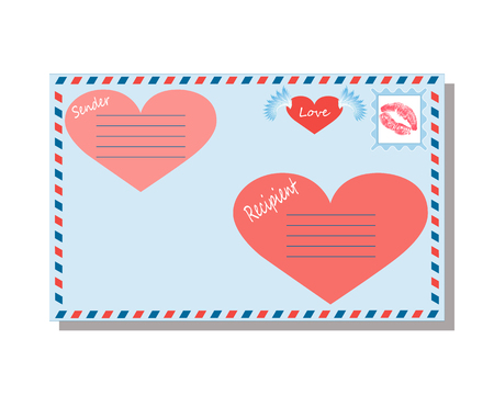 envelope with love declarations on a white background, valentine, package, note the destination, postcard, letter, vector illustration