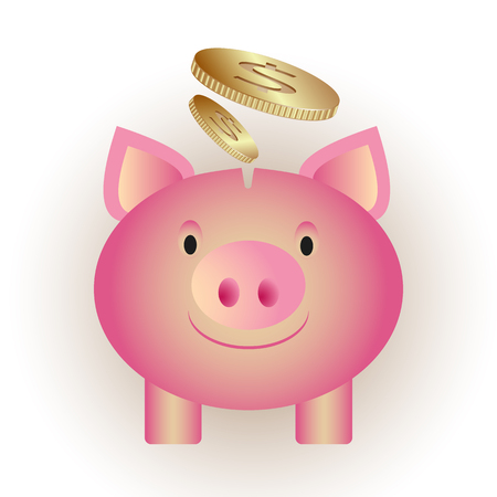 Piggy bank with smoked safflowers vector background
