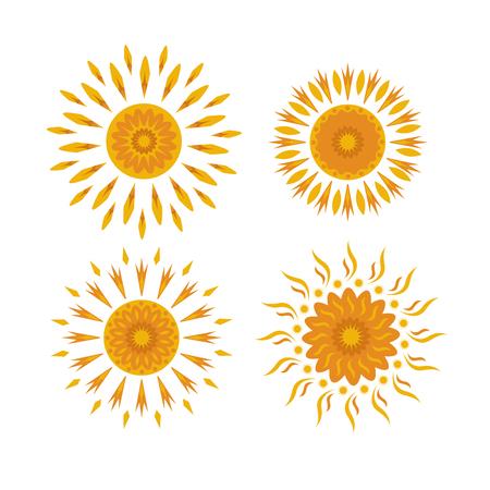 Set of suns on a white background Illustration