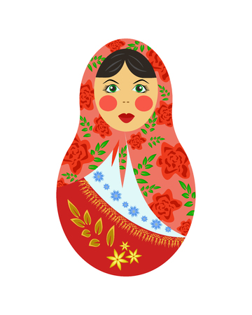 Russian nesting doll, tumbler, wooden colorful nesting pin, symbol of a Russian woman, Russian souvenir, vector illustration Illustration