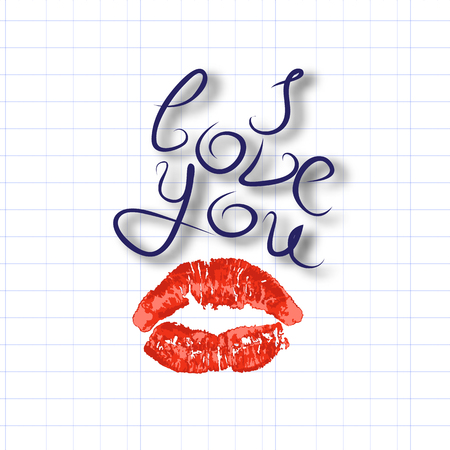 I love you, air kiss, imprint of red lipstick lips, caliber inscription, declaration of love, vector illustration