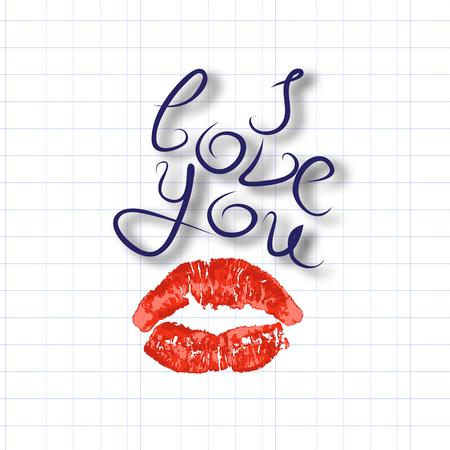 Ik hou van je, luchtkus, afdruk van rode lippenstift lippen, kaliber inscriptie, liefdesverklaring, vectorillustratie