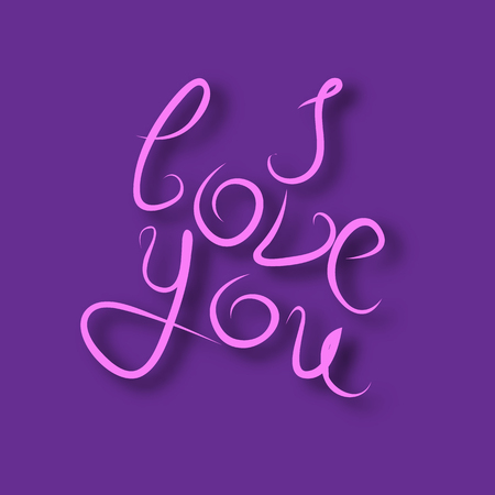 I love you, air kiss, calligraphic inscription, declaration of love, vector illustration