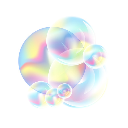Soap bubbles vector illustration on white background.