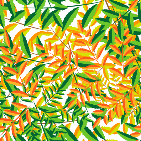 orange and green yellow leaves, autumn leaf fall, autumn colorful background for banner, seamless background of leaves, vector illustration