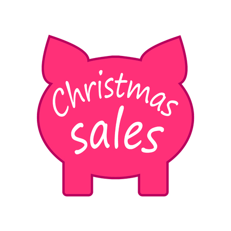 Pig label for Christmas sale, sale tag, store label, New year promotion, paper vector illustration
