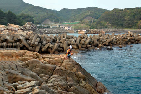 The man who looks at the Japanese sea in Wakayama.