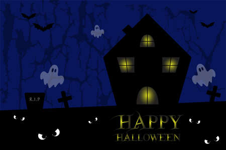 Spooky house with cemetery, ghosts, bats, with blue background, Halloween vector Ilustrace