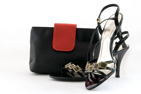 Black shoes and a ladies bag photo