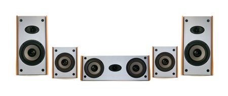 wooden audio speakers photo