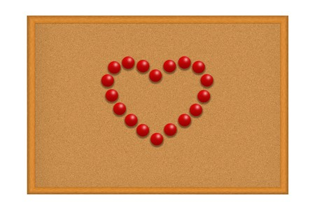 Many red pushpins in a shape of a heart on corkboard photo