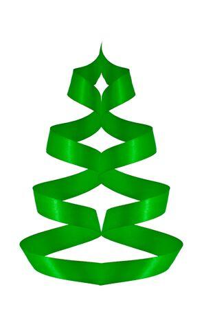 green ribbon tree isolated on white photo