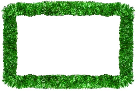 Green Christmas tinsel garland, forming a rectangular frame with center copy space, isolated on white background photo