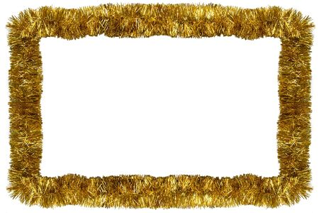 bright decoration color: Gold Christmas tinsel garland, forming a rectangular frame with center copy space, isolated on white background