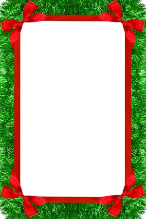 Christmas frame from  tinsel garland and red bow Stock Photo - 8040097