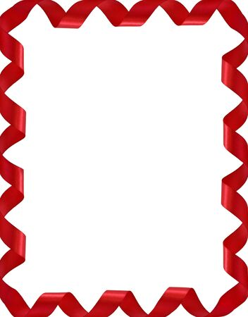 border line: Frame from red ribbons isolated on white