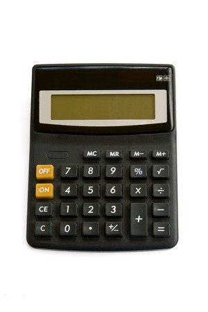 subtraction: Calculator isolated on white Stock Photo