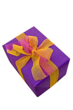 lilac box tied with a  ribbon bow. A gift for Christmas, Birthday, Wedding, or Valentine's day. Isolated on white with clipping path. Stock Photo - 8095512