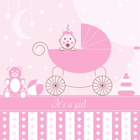 Girl in Pram Vector