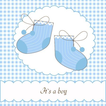 Baby boy shower invitation card Stock Vector - 8873488