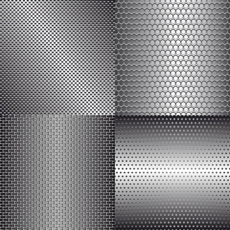 solid silver: Set of metal background for your design Illustration