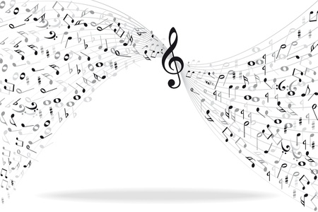 key signature: Music notes background