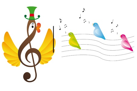 music emblem: Treble clef is bird and singing birds